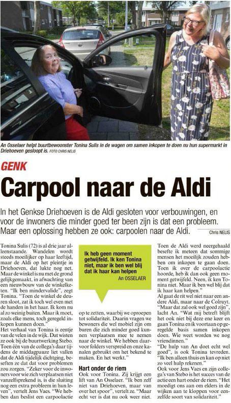 Carpoolen naar Aldi voor kwetsbare bewoners